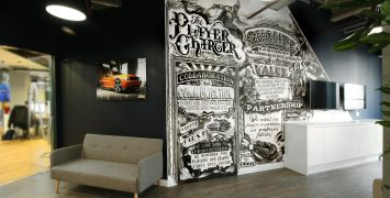 London office mural by artist Vic Lee